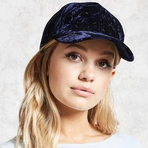 Crushed Velvet Baseball Cap Black or Blue